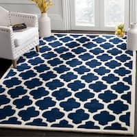 Safavieh Geometric Handmade Moroccan Dark Blue Wool Rug (5' x 8') - 5' x 8'