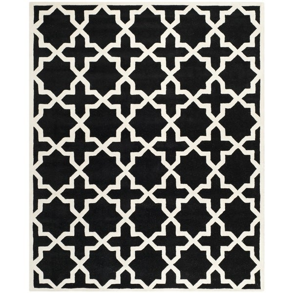 Safavieh Handmade Moroccan Black Wool Rug with Cotton Canvas Backing - 8' x 10'