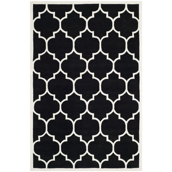Safavieh Handmade Moroccan Black Pure Wool Rug - 4' x 6'