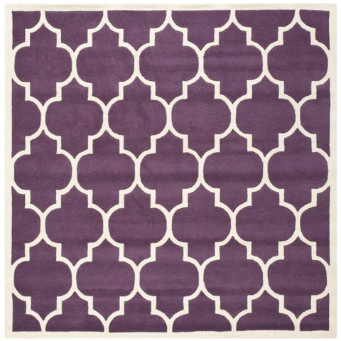 "Safavieh Handmade Moroccan Purple Geometric-Pattern Wool Rug - 8'9"" x 8'9"" Square"