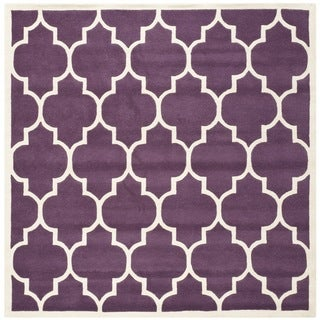"Safavieh Handmade Moroccan Purple Geometric-Pattern Wool Rug (8'9"" Square)"