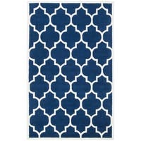 Safavieh Handmade Moroccan Dark Blue Wool Rug with Thick Pile - 4' x 6'