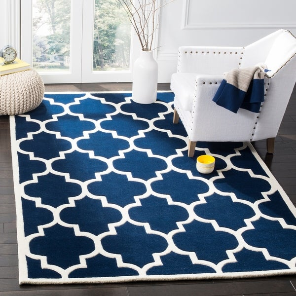 Safavieh Handmade Moroccan Dark Blue Wool Rug with Thick Pile - 4' x 6'