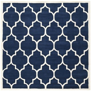 Safavieh Handmade Moroccan Dark Blue Pure Wool Rug (7' Square)