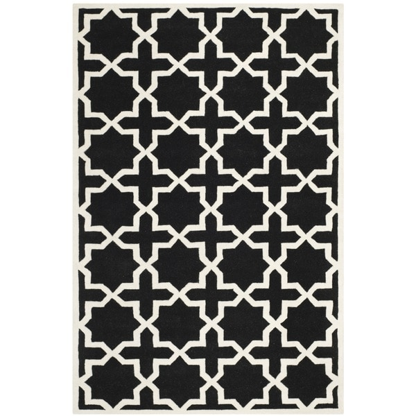 Safavieh Handmade Moroccan Black Cross Pattern Wool Rug 4