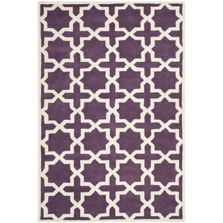 Safavieh Handmade Moroccan Purple Wool Rug with Cotton Canvas Backing (6' x 9')