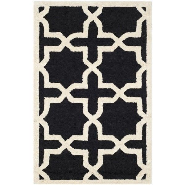 Small Safavieh Handmade Moroccan Cambridge Black Wool Rug (3' x 5') - 3' x 5'