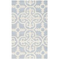 Safavieh Handmade Cambridge Moroccan Casual Cross Pattern Light-Blue Wool Rug - 2' x 3'