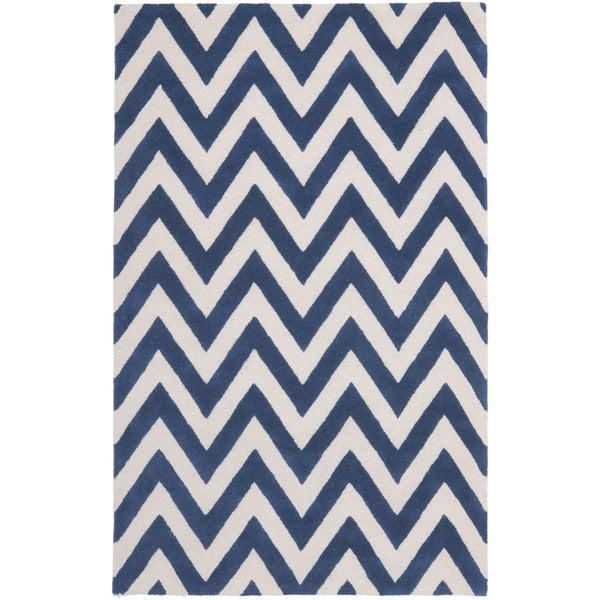 Safavieh Handmade Moroccan Cambridge Chevron Navy Wool Rug (9' x 12')