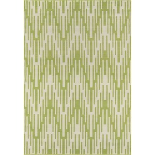 Indoor/ Outdoor Green Ikat Rug (1'8 x 3'7)