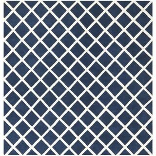 Safavieh Handmade Moroccan Dark Blue/Ivory Wool Rug (7' Square)