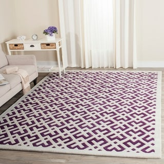 Safavieh Handmade Moroccan White-and-Purple Wool Rug (8' x 10')