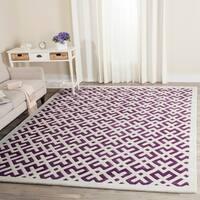 Safavieh Handmade Moroccan White-and-Purple Wool Rug - 8' x 10'
