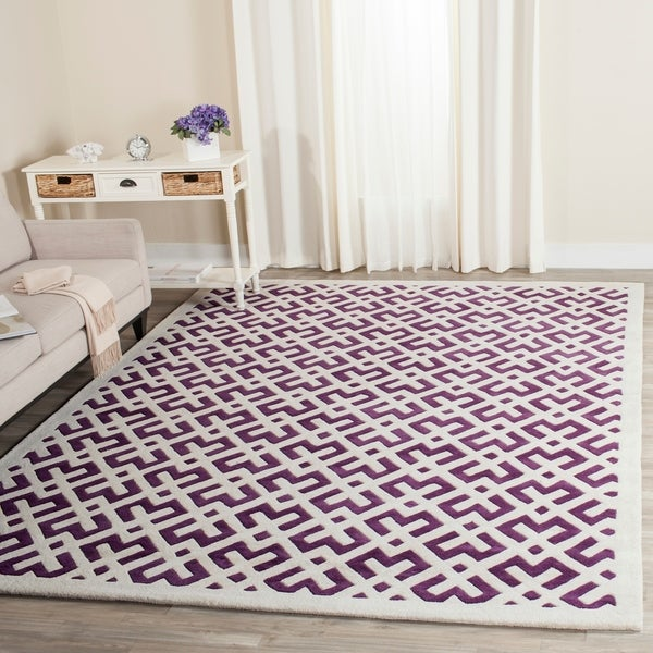 Safavieh Handmade Moroccan White-and-Purple Wool Rug - 8' x 10'