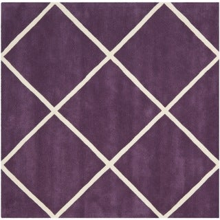 Safavieh Handmade Moroccan Purple Diamond Pattern Wool Rug (7' Square)