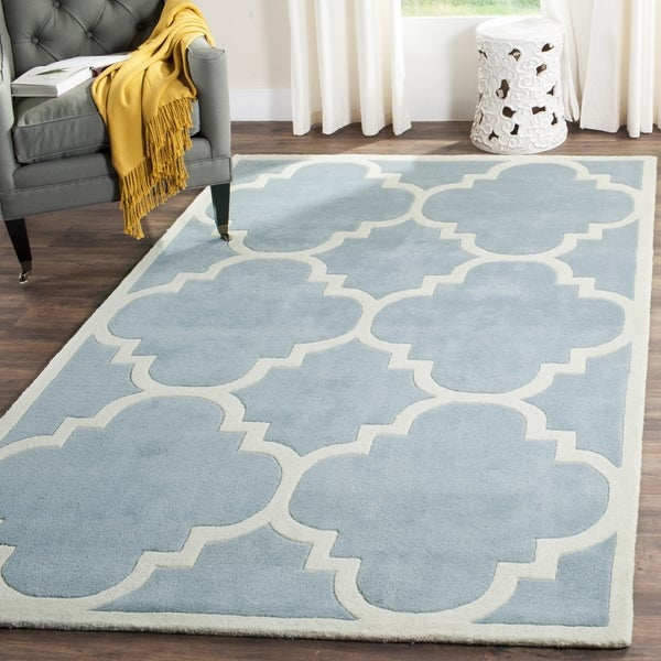 Safavieh Handmade Moroccan Blue Casual Wool Rug (7' Square)