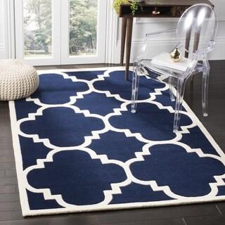 "Safavieh Handmade Moroccan Dark Blue Wool Rug with 0.5"" Pile Height (7' Square)"