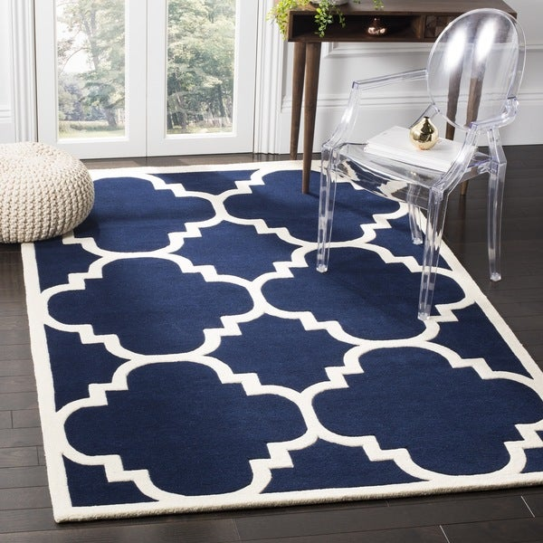 "Safavieh Handmade Moroccan Dark Blue Wool Rug with 0.5"" Pile Height - 7' Square"