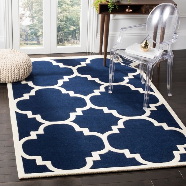 Safavieh Handmade Moroccan Chatham Canvas-backed Dark Blue Wool Rug - 8' x 10'