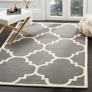 Safavieh Handmade Moroccan Geometric Dark Grey Wool Rug (6' x 9')