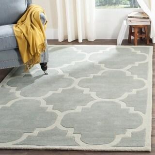 Safavieh Handmade Moroccan Grey Large Geometric Wool Rug (7' Square)