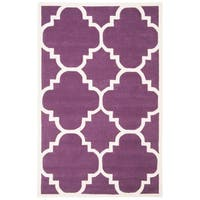 Safavieh Handmade Moroccan Purple Wool Rectangular Rug - 4' x 6'