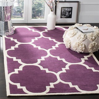 Safavieh Handmade Moroccan Purple Wool Rug with Cotton Canvas Backing (7' Square)