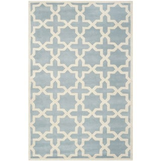 Safavieh Handmade Geometric Moroccan Blue Wool Rug (4' x 6')