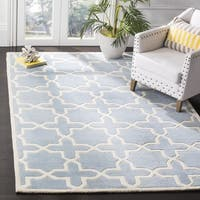 Safavieh Handmade Moroccan Blue Wool Rug with Cotton Canvas Backing - 7' Square