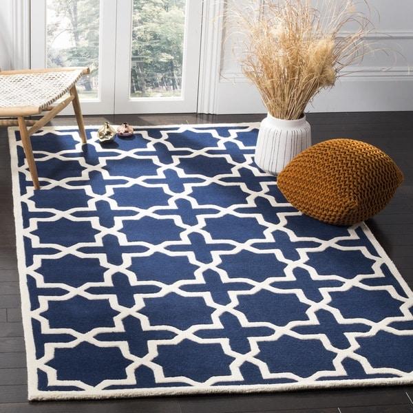 Safavieh Handmade Contemporary Moroccan Dark Blue Wool Rug (6' x 9')
