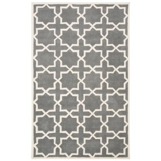 Safavieh Handmade Moroccan Dark Grey Geometric Wool Rug (5' x 8')