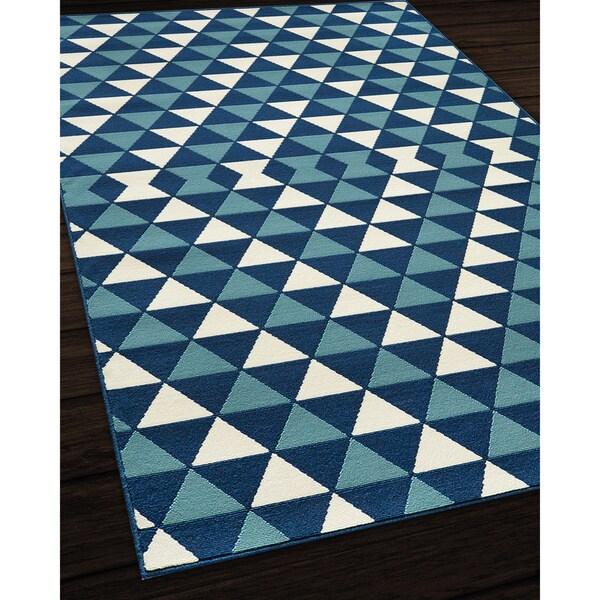 Rug Kaleidoscope Runner: Indoor/ Outdoor Blue Kaleidoscope Rug (7'10 X 10'10