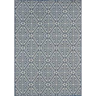 Indoor/ Outdoor Navy Diamonds Rug (5'3 x 7'6)|https://ak1.ostkcdn.com/images/products/8079915/P15433865.jpg?impolicy=medium
