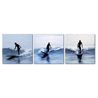 Baxton Studio Surf Silhouettes Mounted Photography Print Triptych