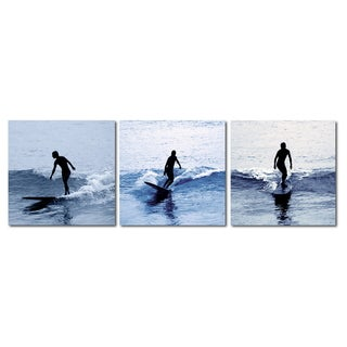 Baxton Studio Surf Silhouettes Mounted Photography Print Triptych - Blue