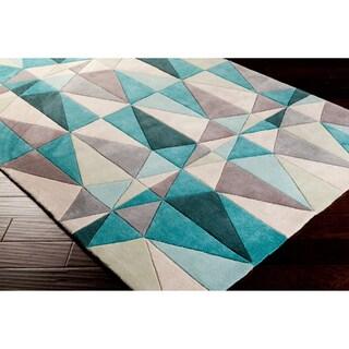Hand-tufted Diamonds Blue Contemporary Geometric Area Rug - 5' x 8'