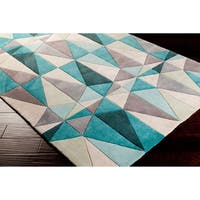 Hand-tufted Diamonds Blue Contemporary Geometric Area Rug - 5' x 8'