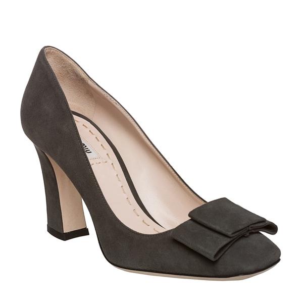 4c734e2d7e645 Shop Miu Miu Women's Suede Bow Block Heel Pumps - Free Shipping ...
