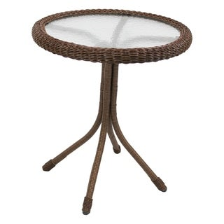 International Caravan Outdoor Resin Wicker and Glass-top Bistro Table