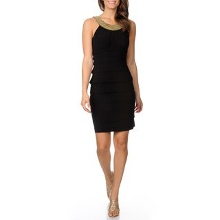 Women's Black Tiered Beaded Halter Dress