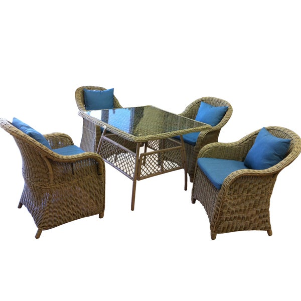 beverly 39 5 piece blue and grey outdoor dining set free shipping