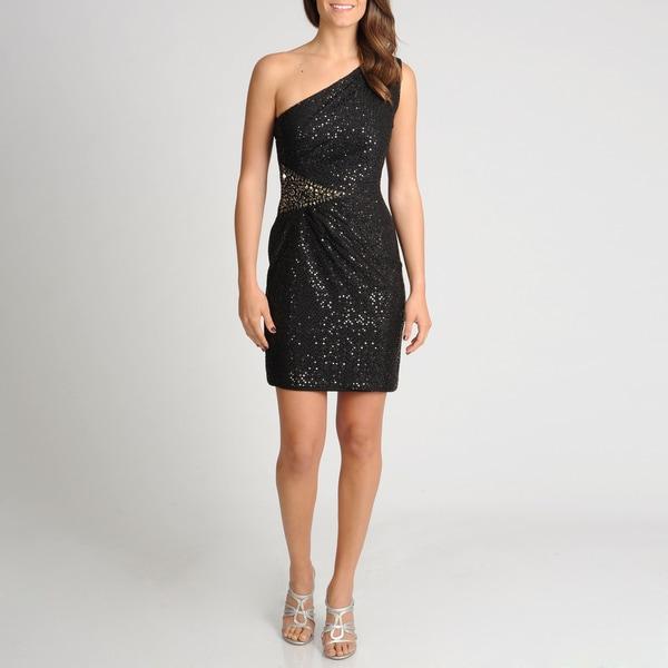 Women's Black One-shoulder Sequined Dress