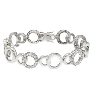 Kate Bissett Silvertone Clear Cubic Zirconia Open Circle Link Bracelet