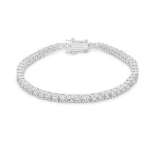 Kate Bissett Silvertone Round Cubic Zirconia 7-inch Tennis Bracelet
