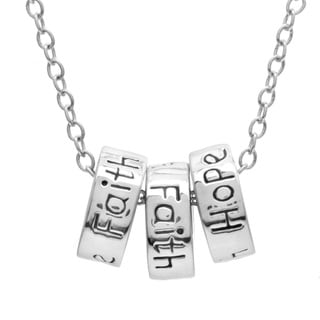 Kate Bissett Rhodium-Plated Love, Faith and Hope Rings Necklace