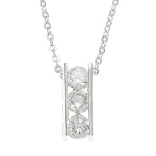 Kate Bissett Rhodium Plated Three-Stone Cubic Zirconia Pendant