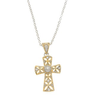 Kate Bissett Two-tone Round-cut Clear Cubic Zirconia Milligrain Cross Necklace
