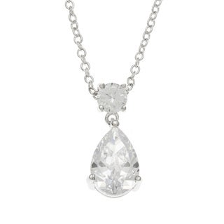 Kate Bissett Rhodium-Plated Pear-Cut CZ Chandelier Pendant