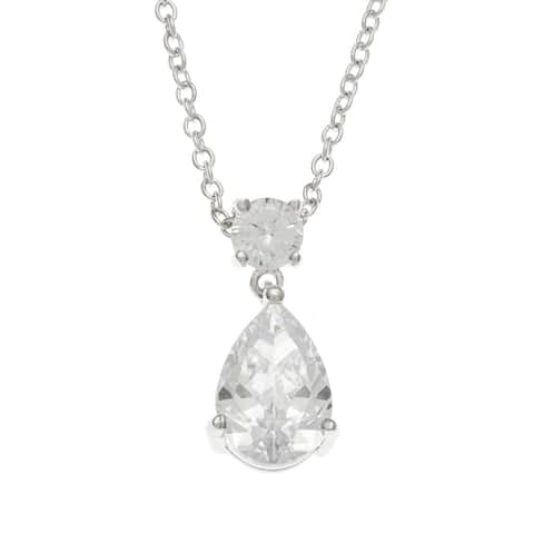 Kate Bissett Rhodium-Plated Pear-Cut CZ Chandelier Pendant