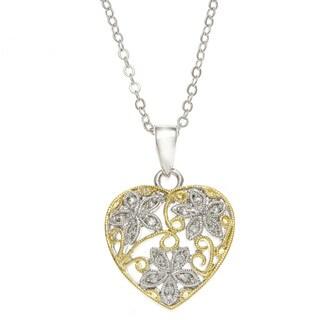 Kate Bissett Rhodium-Plated Floral Filigree Heart Pendant